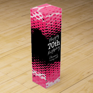 Happy 70th Birthday pink girlie wine box