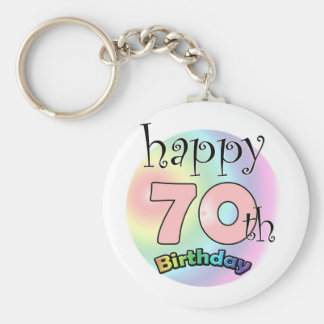Happy 70th Birthday (pink) Key Ring
