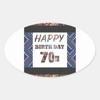 Happy 70th Birthday Oval Sticker