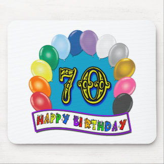 Happy 70th Birthday with Balloons Mouse Pad