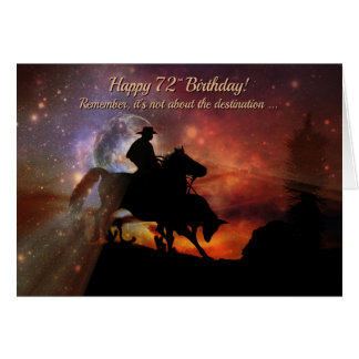 Happy 72nd Birthday Cowboy Riding Bull Roping Card