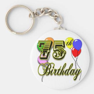 Happy 75th Birthday Celebration Basic Round Button Key Ring