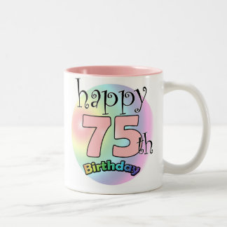 Happy 75th Birthday (pink) Two-Tone Coffee Mug