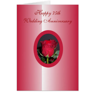 Happy 75th Wedding Anniversary Card Red Rose