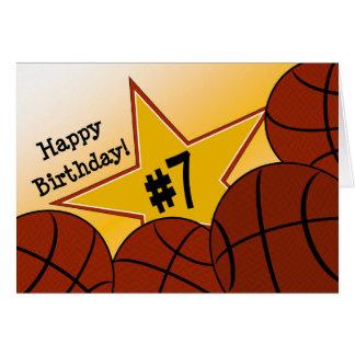 Happy 7th Birthday, Basketball Star! Greeting Card