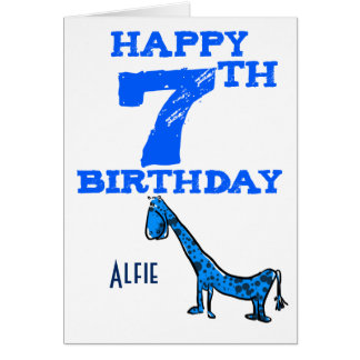 Happy 7th birthday cartoon dinosaur - boy greeting card