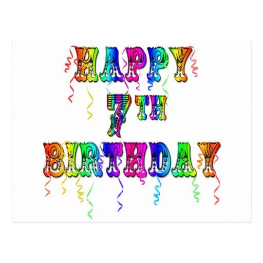 Happy 7th Birthday Circus Design Postcards