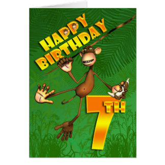 Happy 7th Birthday Monkey Banana Greeting Card