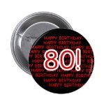 Happy 80th Birthday 6 Cm Round Badge