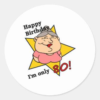 Happy 80th Birthday Classic Round Sticker
