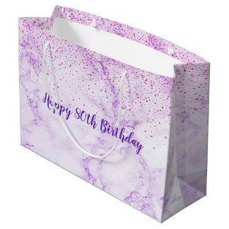 Happy 80th Birthday elegant violet marble confetti Large Gift Bag