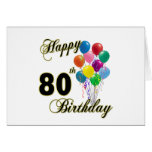 Happy 80th Birthday Gifts and Birthday Apparel Greeting Card