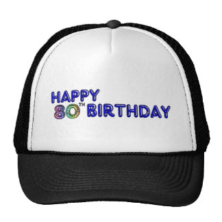 Happy 80th Birthday Gifts and Birthday Apparel Mesh Hats