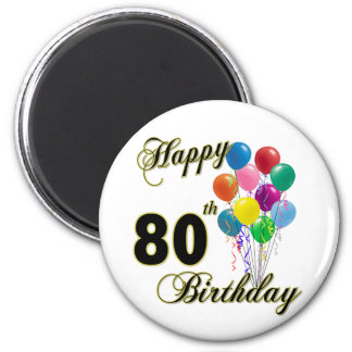 Happy 80th Birthday Gifts and Birthday Apparel Fridge Magnets