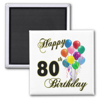 Happy 80th Birthday Gifts and Birthday Apparel Refrigerator Magnets