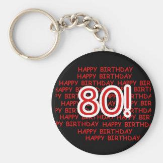 Happy 80th Birthday Keychain
