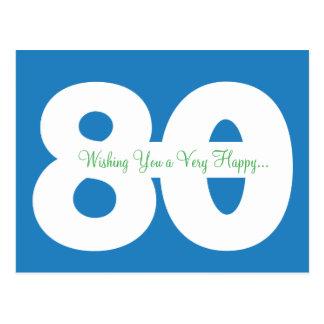 Happy 80th Birthday Milestone Postcards - in Blue