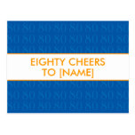 Happy 80th Birthday Postcards - Cheers in Blue