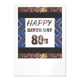 Happy 80th Birthday Template DIY add TEXT QUOTE 80 Magnetic Invitations