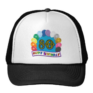 Happy 80th Birthday with Balloons Hats