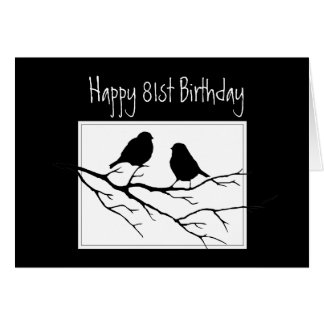 Happy  81st, Eighty-First, Birthday Two Birds Card