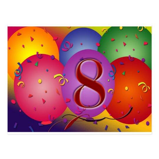 Happy 8th Birthday Balloons Postcard