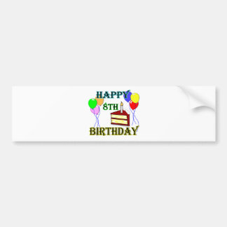 Happy 8th Birthday with Cake, Balloons and Candle Bumper Sticker