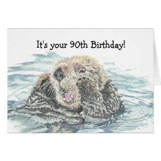Happy 90th  Birthday Cute Excited Otter Humorous Card