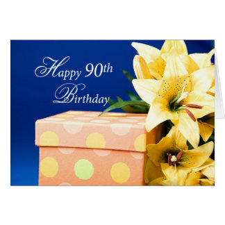 Happy 90th Birthday, Lilies, and Present on Blue Card