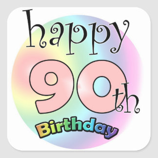 Happy 90th Birthday (pink) Square Sticker