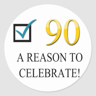 Happy 90th Birthday Round Sticker