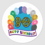 Happy 90th Birthday with Balloons Round Sticker