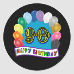 Happy 90th Birthday with Balloons Round Sticker
