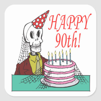 Happy 90th square sticker