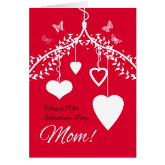 Happy 90th Valentine's Day Mom with hanging hearts Greeting Card