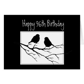 Happy 96th,Ninety Sixth, First Birthday Two Birds Card