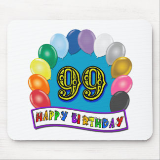 Happy 99th Birthday with Balloons Mouse Pad