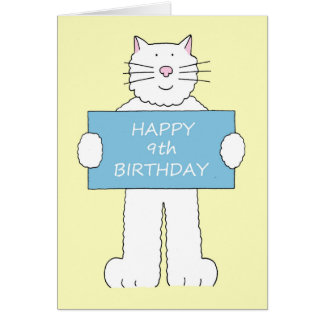 Happy 9th Birthday from fluffy white cat. Greeting Card