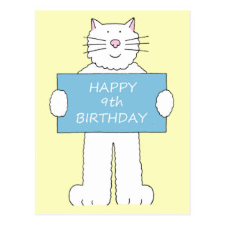 Happy 9th Birthday from fluffy white cat. Postcard