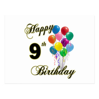 Happy 9th Birthday Gifts and Birthday Apparel Postcard