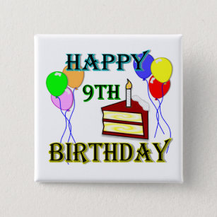 Happy 9th Birthday With Cake Balloons And Candle 15 Cm Square Badge