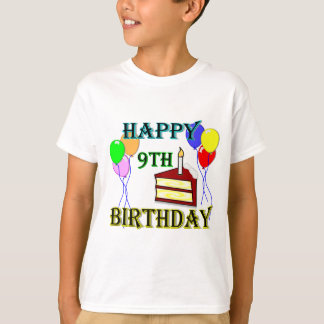 Happy 9th Birthday with Cake, Balloons and Candle T-Shirt