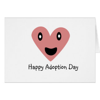 Happy Adoption Day Pink Heart Greeting Card