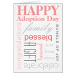 Happy Adoption Day Text Design in Pink & Grey Cards