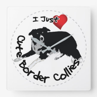 Happy Adorable & Funny Border Collie Dog Square Wall Clock