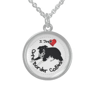 Happy Adorable & Funny Border Collie Dog Sterling Silver Necklace