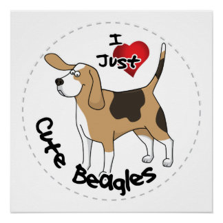 Happy Adorable Funny & Cute Beagle Dog Poster