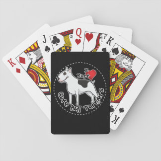 Happy Adorable Funny & Cute Bull Terrier Dog Playing Cards