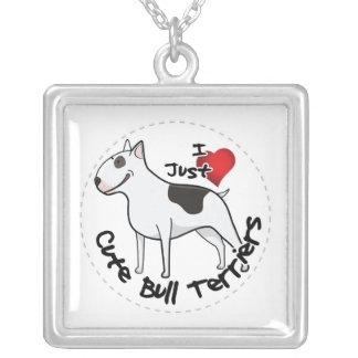 Happy Adorable Funny & Cute Bull Terrier Dog Silver Plated Necklace