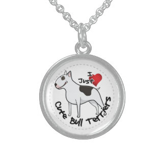 Happy Adorable Funny & Cute Bull Terrier Dog Sterling Silver Necklace